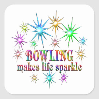 Bowling Sparkles Square Sticker