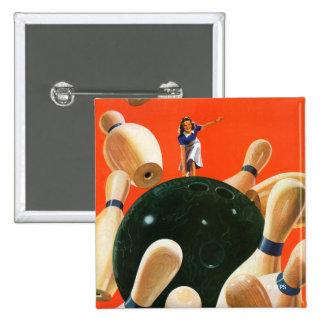 Bowling Strike 2 Inch Square Button