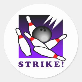 Bowling: STRIKE! Classic Round Sticker
