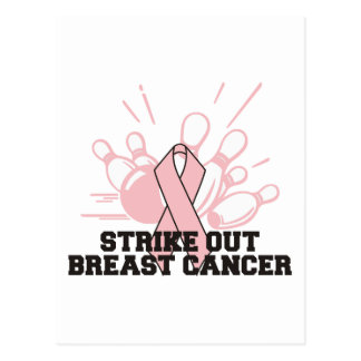 Bowling Strike Out Breast Cancer Postcard