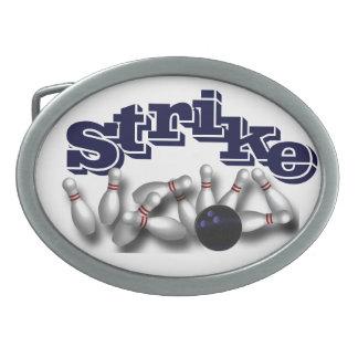 Bowling Strike Oval Belt Buckle