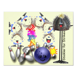 "Bowling Strike Smiley party 4.25"" X 5.5"" Invitation Card"