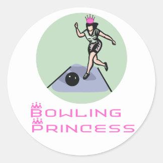 BowlingChick Princess Classic Round Sticker