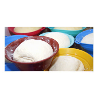 Bowls with bread dough personalized photo card