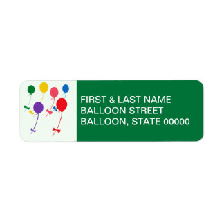 BOWS AND BALLOONS RETURN ADDRESS LABEL