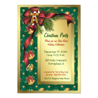 Bows and Bells Christmas Invitation