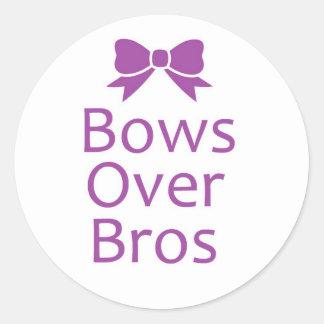 Bows over bros- Purple Classic Round Sticker