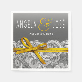 Bows Ribbon & Lace Wedding Party | gray yellow Paper Napkins