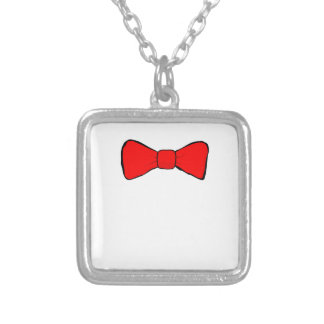bowtie silver plated necklace