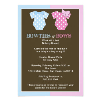"""Bowties or Bows Gender Reveal Invitaition 5"""" X 7"""" Invitation Card"""