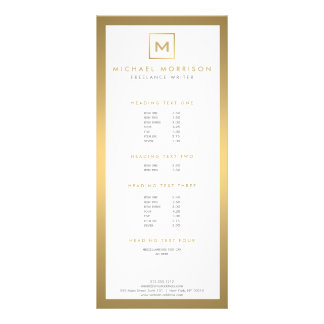 BOX LOGO with YOUR INITIAL/MONOGRAM in Faux Gold Rack Card Template