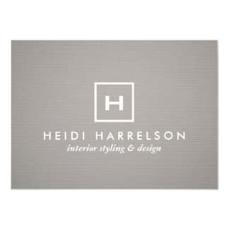 BOX LOGO with YOUR INITIAL/MONOGRAM on GRAY LINEN Card