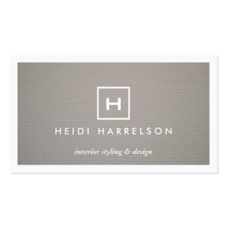 BOX LOGO with YOUR INITIAL/MONOGRAM on GRAY LINEN Pack Of Standard Business Cards