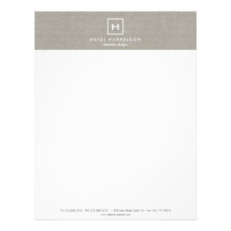 BOX LOGO with YOUR INITIAL/MONOGRAM on KHAKI LINEN Letterhead