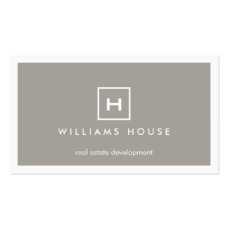 BOX LOGO with YOUR INITIAL/MONOGRAM on TAUPE Business Card Templates