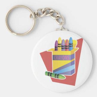 Box Of Crayons Basic Round Button Keychain