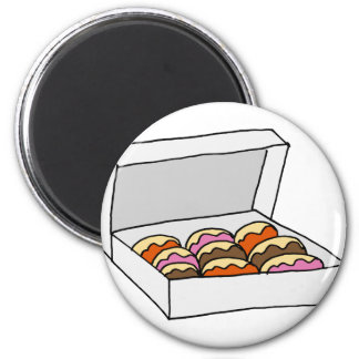 Box of doughnuts 2 inch round magnet