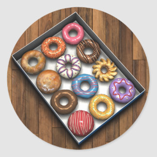 Box of Doughnuts Round Sticker