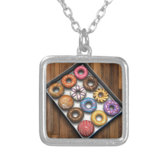 Box of Doughnuts Silver Plated Necklace