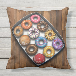 Box of Doughnuts Throw Pillow