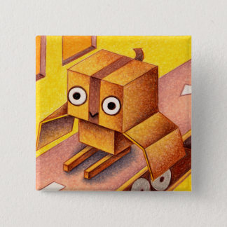 Box owl 2 inch square button