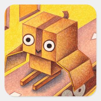 Box owl square sticker