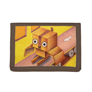 Box owl trifold wallet