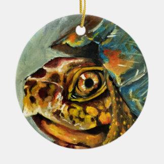 box turtle ceramic ornament