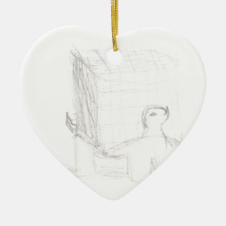 box turtle cube drawing Eliana Ceramic Heart Ornament
