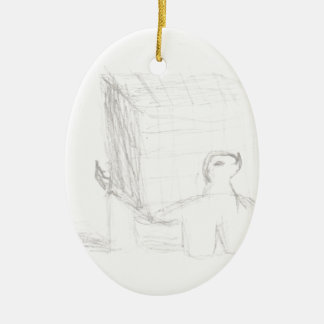 box turtle cube drawing Eliana Ceramic Oval Ornament