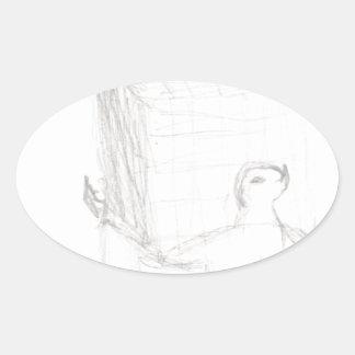 box turtle cube drawing Eliana Oval Sticker