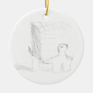 box turtle cube drawing Eliana Round Ceramic Ornament
