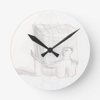 box turtle cube drawing Eliana Round Clock