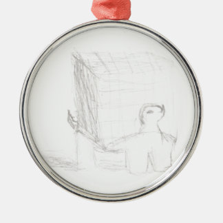 box turtle cube drawing Eliana Silver-Colored Round Ornament