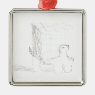 box turtle cube drawing Eliana Silver-Colored Square Ornament