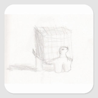 box turtle cube drawing Eliana Square Sticker