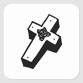 Boxed Floral Cross Square Sticker