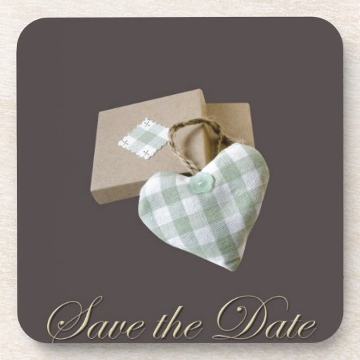 Boxed Heart Save the Date Drink Coasters