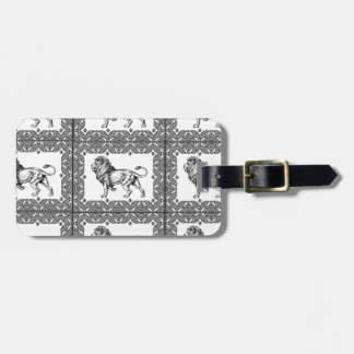 boxed lion in a frame luggage tag