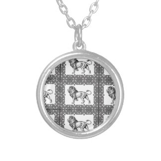 boxed lion in a frame silver plated necklace