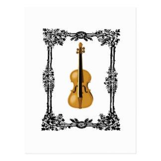 boxed violin postcard