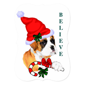 Boxer Believe In Christmas Card