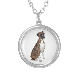 Boxer - brindle natural ears personalized necklace