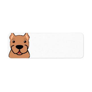 boxer cartoon head fawn return address label