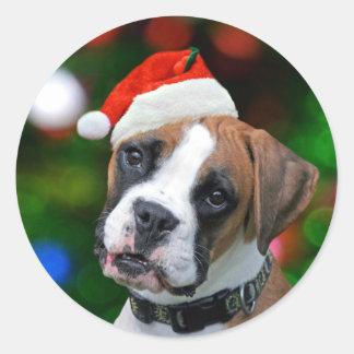 Boxer Christmas Classic Round Sticker
