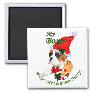 Boxer Christmas Gifts Square Magnet