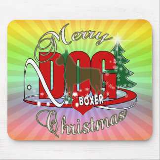 BOXER CHRISTMAS MERRY DOGS MOUSE PAD