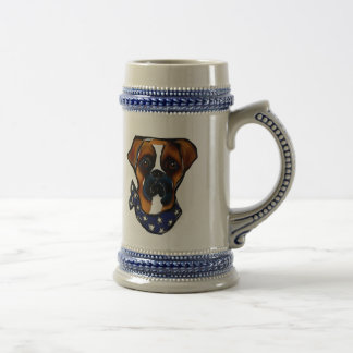 Boxer Dog 4th of July Beer Stein