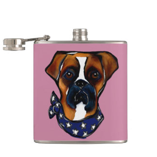 Boxer Dog 4th of July Hip Flask