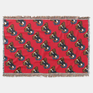 Boxer Dog 4th of July Throw Blanket